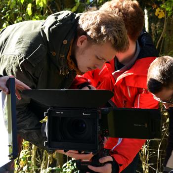 Umbauarbeiten während einer Videoproduktion.
