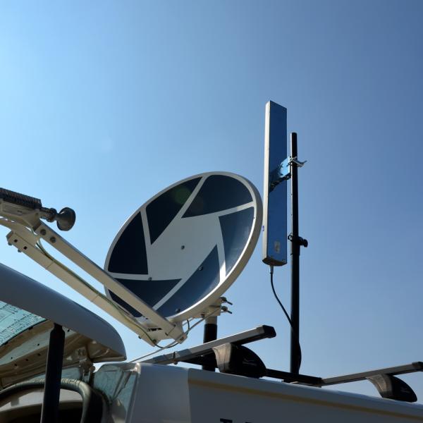 SAT-Aufbau und WLAN-Antenne für 2,4Ghz & 5Ghz Ausstrahlung.